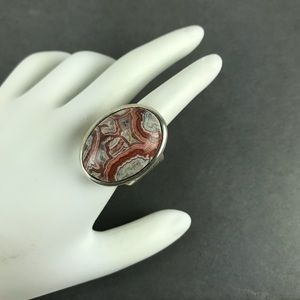 Vintage red gray banded Agate sterling silver ring